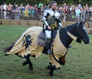 Knight in a suit of armor riding a horse