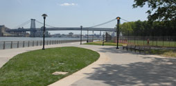 Path in East River Promenade with Williamsburg Bridge in the background