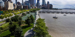 Aerial shot of Hudson River Park