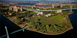 Aerial shot of Randall's Island Park