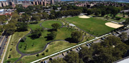 Aerial shot of Soundview Park