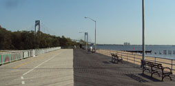 Staten Island Boardwalk with the Verrazano-Narrows Bridge in the background