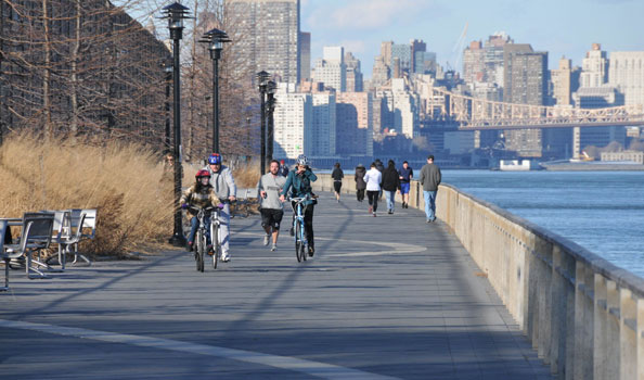 Running and biking along the East River
