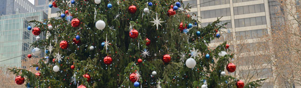 Close-up of the christmas tree at Bryant Park ice skating rink
