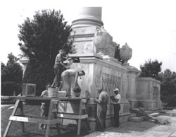 Victory Memorial restoration. Links to enlarged photo.