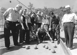 Men playing bocce. Links to an enlarged photo.