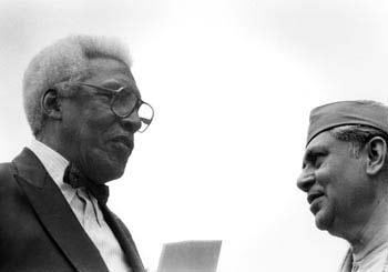 Bayard Rustin and Indian Participant, Gandhi Sculpture Dedication, Union Square Park, October 2, 1986