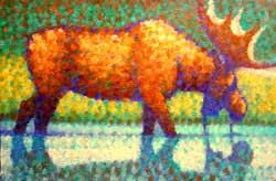 Painting of a bull moose