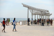 New Shade structure on Rockaway Beach Boardwalk