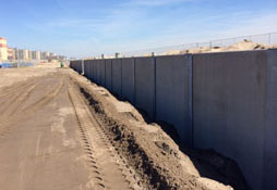 completed sand retaining wall
