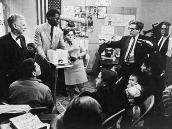 Commissioner Hecksher, Courtney Callender, and Paul Friedberg at Community Presentation, 1967