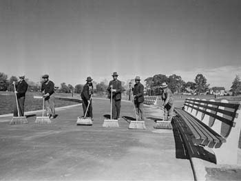 Park Maintenance Crew Cleans Walkway, Baisley Pond Park, Queens, October 16, 1940
