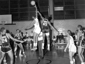 Opening Tip-off of Basketball Game, St. Mary's Park, Bronx, March 3, 1967