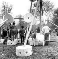 Giant Tinker Toys, Literary Walk, Central Park, 1968, New York City Parks Photo Archive