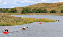 people kayaking at Freshkills Park