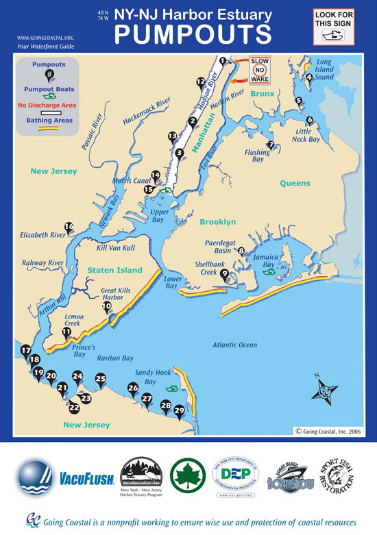 Map of pumpout locations in New York City and New Jersey