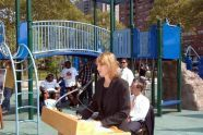 First Deputy Mayor Patricia E. Harris speaks at the opening of Story Playground