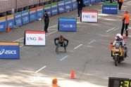 Kurt Fearnley of Australia nears the finish line