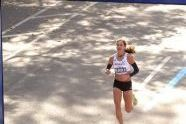 Kara Goucher approaches the finish