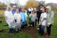 MillionTreesNYC planting with New York Knicks players at Pelham Parkway