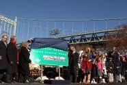 Ethel Kennedy and Governor David Paterson present the new bridge sign to a gathered audience