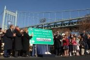 The sign for Robert F. Kennedy Bridge is unveiled.