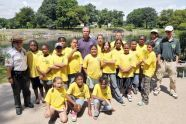 Commissioner Benepe poses with Junior Ranger Day Camp children