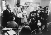 Commissioner Hecksher, Courtney Callender, and Alfred Shapiro at Community Presentation, Lower East Side, 1967