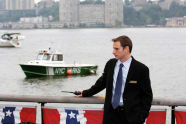 Marina Manager Nate Grove stands by the Hudson River