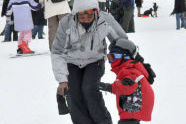 Learning how to snowboard at a young age