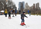 Skiing in Central Park slopes