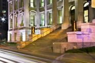 Bruce Walking (2004) and Sara Walking (2003), LED sculptures on the steps of Tweed Courthouse