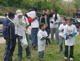 Volunteers prepare to clean up the park
