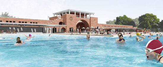 Image of A rendering of the renovated McCarren Pool.