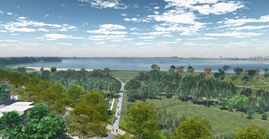 A new access path at the end of Rosedale Avenue will lead visitors to a viewpoint and amphitheatre overlooking the East River.
