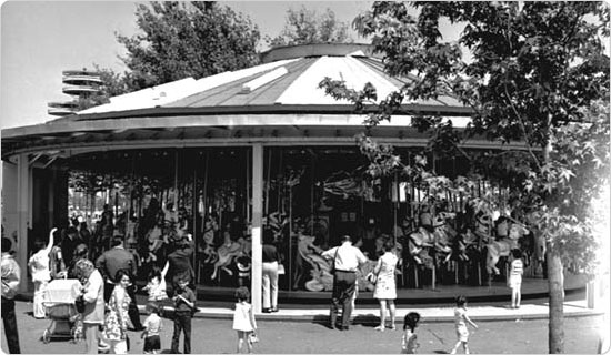 A busy day at the carousel in Flushing Meadows Corona Park, June 1968.  Courtesy of the Parks Photo Archive, neg. 40108.