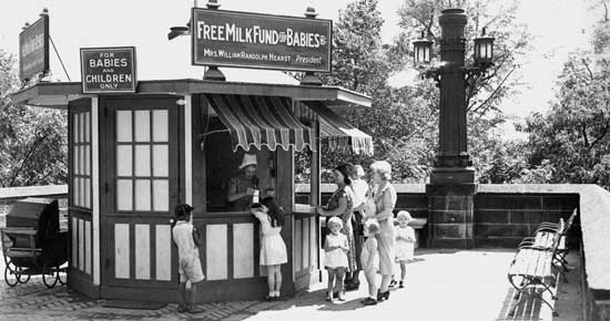Free Milk Station, Central Park West at 60th Street