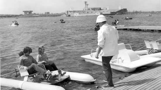 Pedal  Boat Concession, Meadow Lake, Flushing Meadows-Corona Park, Queen, April 28, 1968, New York City Parks Photo Archive