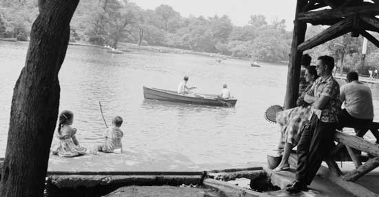 Rowing  on the Lake, Prospect Park, Brooklyn June 21, 1959, Ben  Cohen/New York City Parks Photo Archive
