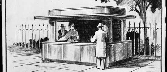 Design  for Permanent Refreshment Stand, T. Woodner Silverman, graphite, 1934, City of  New York/Parks & Recreation