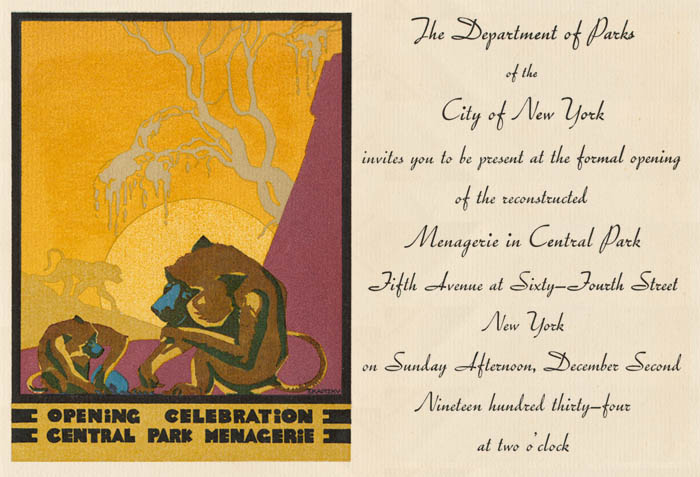 History of central park zoos nyc parks the invitation to the opening of the menagerie in central park december 2 1934 stopboris Image collections