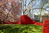 Orly Genger, Red, Yellow, and Blue, photo by James Ewing courtesy of the Madison Square Park Conservancy