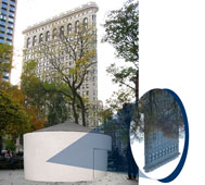 Rendering of Sandra Gibson and Luis RecoderΑs Topsy-Turvy: A Camera Obscura Installation (2013) at Madison Square Park.  Courtesy of Madison Square Park Conservancy.