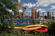 Sheila Hicks, Hop, Skip, Jump, and Fly: Escape from Gravity, 2017. On view June 2017 – March 2018. Photo by Timothy Schenck. Courtesy of Friends of the High Line