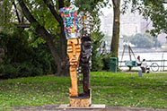 "Image caption: Leilah Babirye, ""Tuli Mukwano (We Are In Love),"" courtesy of Socrates Sculpture Park"