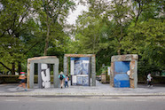 "Image credit: Sam Moyer, ""Doors for Doris,"" 2020, Bluestone, poured concrete, assorted marble, and steel, Presented by Public Art Fund at Doris C. Freedman Plaza, September 16, 2020-September 12, 2021, Courtesy Sam Moyer Studio and Sean Kelly, New York, Photo: Nicholas Knight, Courtesy Public Art Fund, NY"